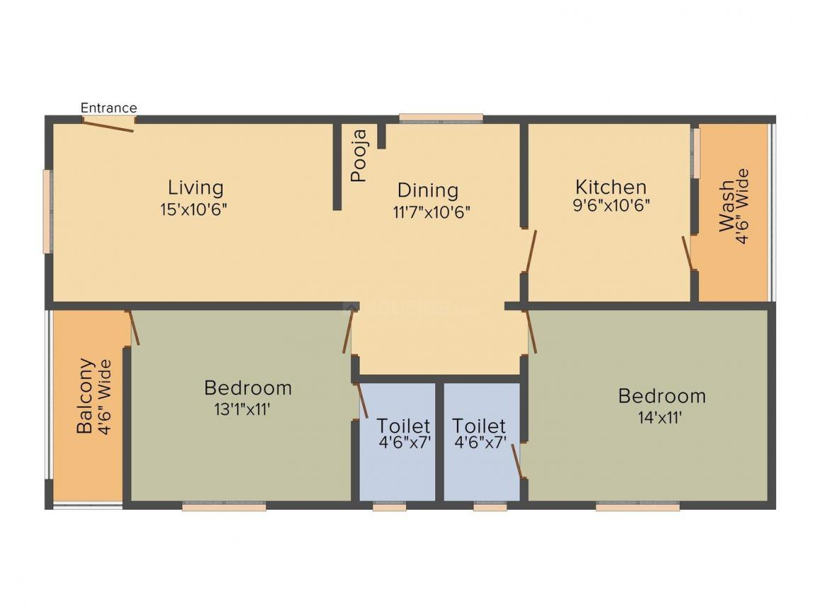 Sai Shraddha Oxyrich Floor Plan: 2 BHK Unit with Built up area of 1220 sq.ft 1