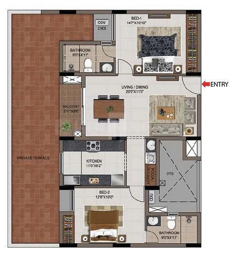 Casagrand Zenith Phase II Floor Plan: 2 BHK Unit with Built up area of 834 sq.ft 1
