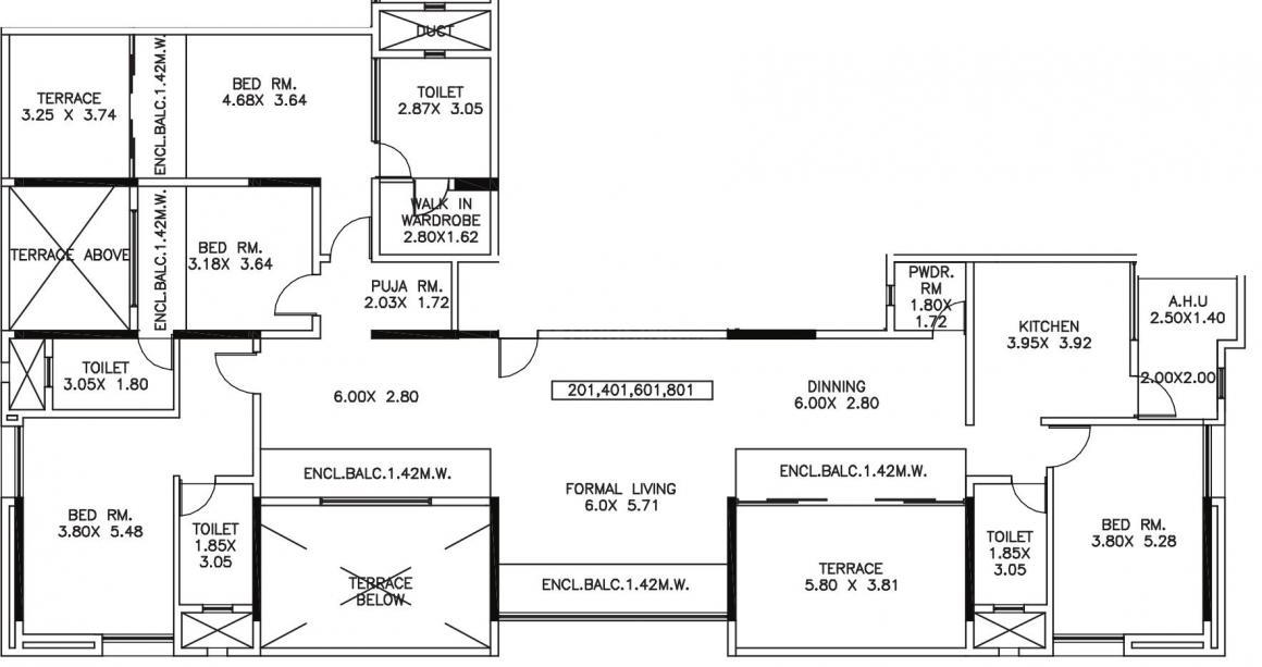 Kumar Kumar Privie Shiloh Floor Plan: 4 BHK Unit with Built up area of 2286 sq.ft 1
