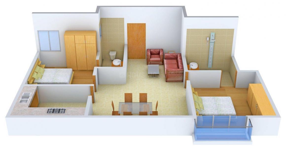 Floor Plan Image of 910.0 - 1241.0 Sq.ft 2 BHK Apartment for buy in Hexa Sunflower