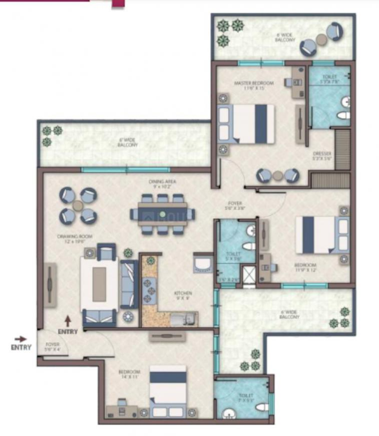 Emerald Heights Floor Plan: 3 BHK Unit with Built up area of 1931 sq.ft 1