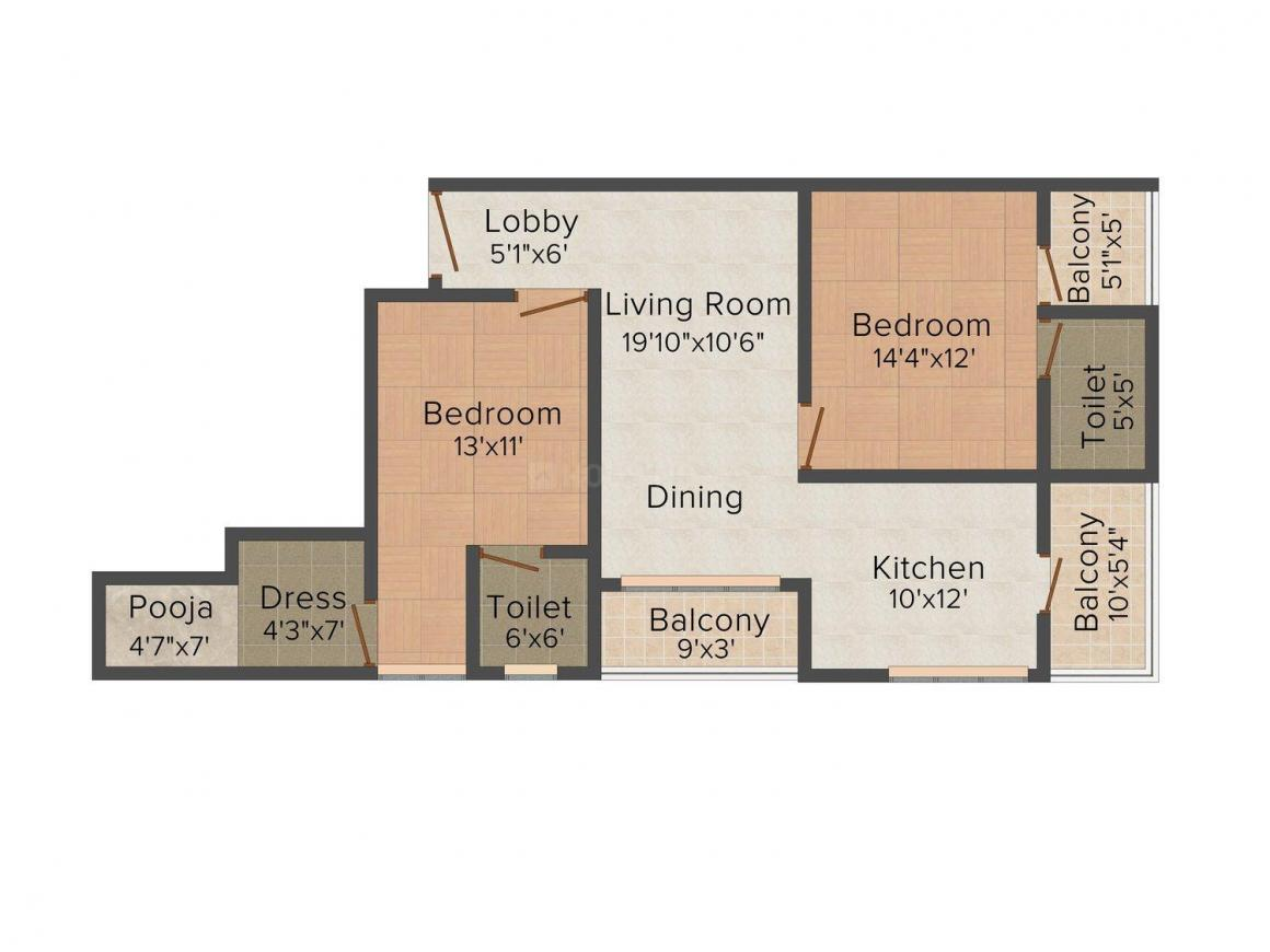 Floor Plan Image of 1473 - 1966 Sq.ft 2 BHK Apartment for buy in Unique Marbella