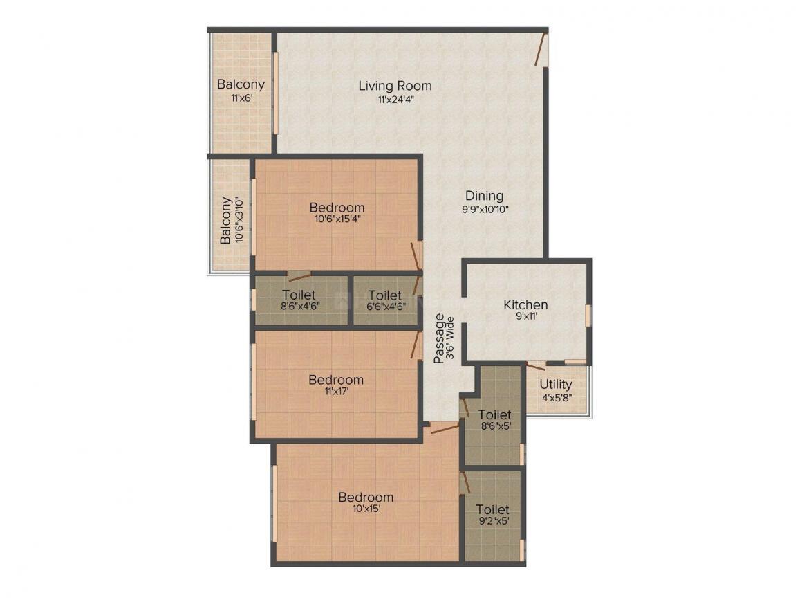 Floor Plan Image of 1280.0 - 1677.0 Sq.ft 3 BHK Apartment for buy in Mirchandani Premium Towers