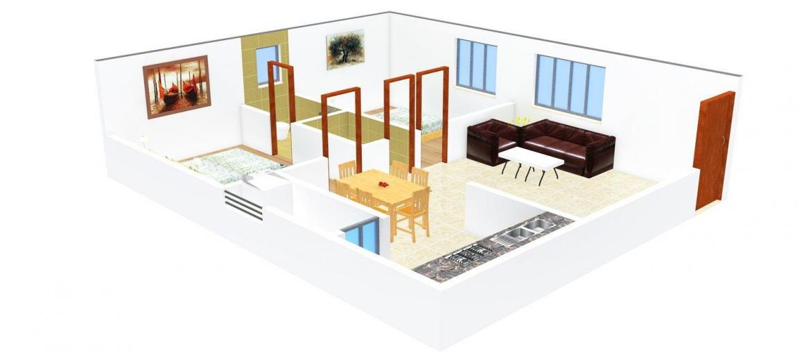 Floor Plan Image of 1050.0 - 1400.0 Sq.ft 2 BHK Apartment for buy in Meda V. Y. Devyander Arcade