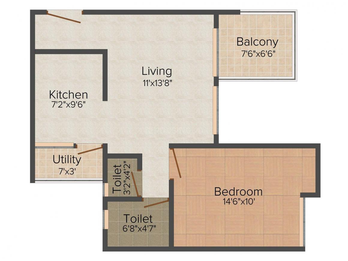 Dream Space Saad Floor Plan: 1 BHK Unit with Built up area of 476 sq.ft 1