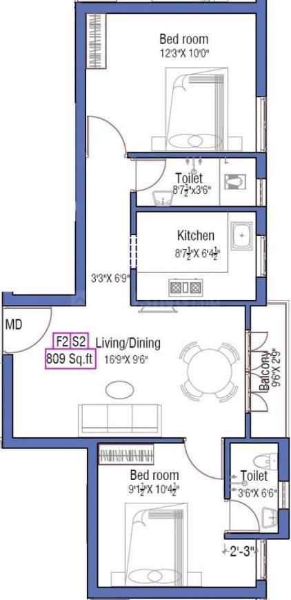 Anu Gowsalya Flats Floor Plan: 2 BHK Unit with Built up area of 809 sq.ft 1
