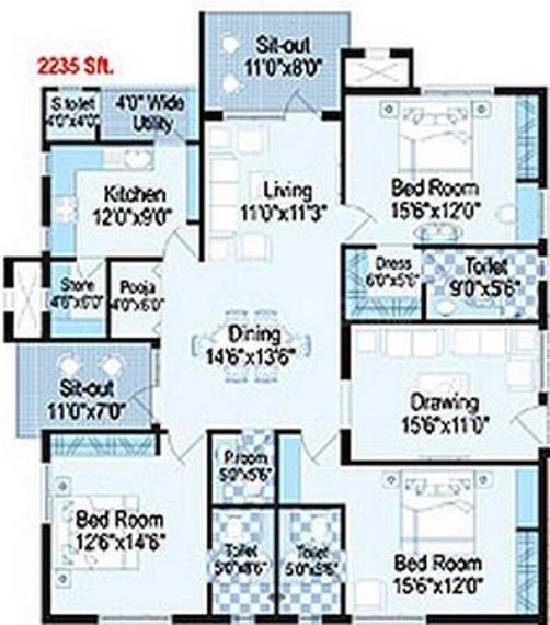 Trend Trendset Winz Floor Plan: 3 BHK Unit with Built up area of 2235 sq.ft 1