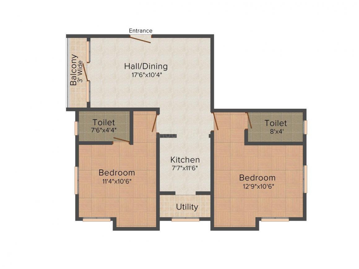 Lakshmi Apartments Floor Plan: 2 BHK Unit with Built up area of 1070 sq.ft 1