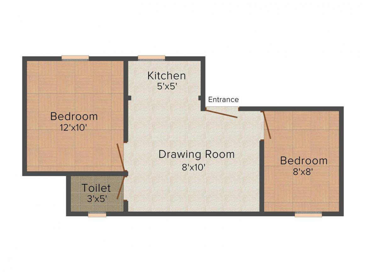 DRC 4 Floor Plan: 2 BHK Unit with Built up area of 450 sq.ft 1