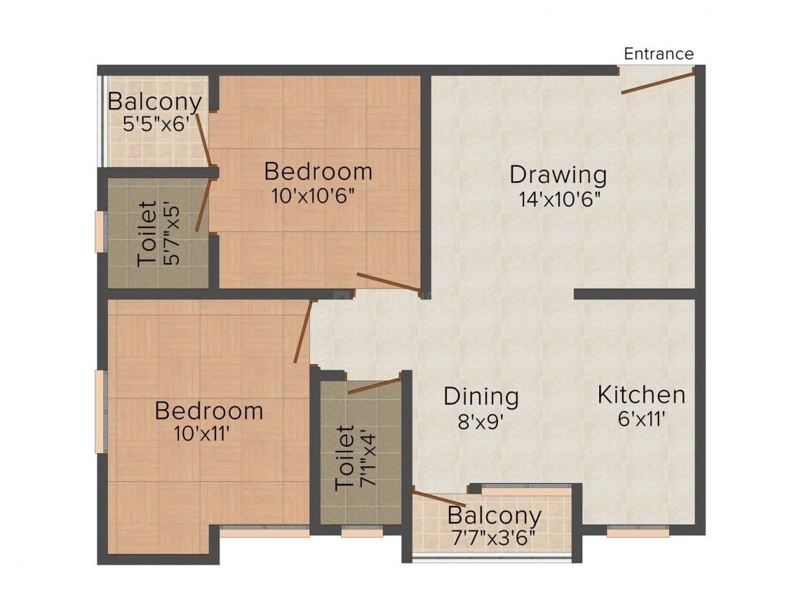 Mansha Shiv Dham Floor Plan: 2 BHK Unit with Built up area of 925 sq.ft 1