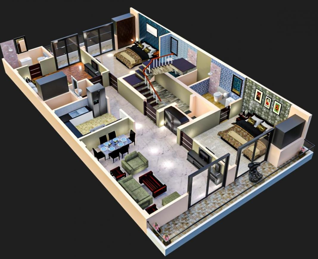 Surendra Lebernum Floor Floor Plan: 3 BHK Unit with Built up area of 1650 sq.ft 1