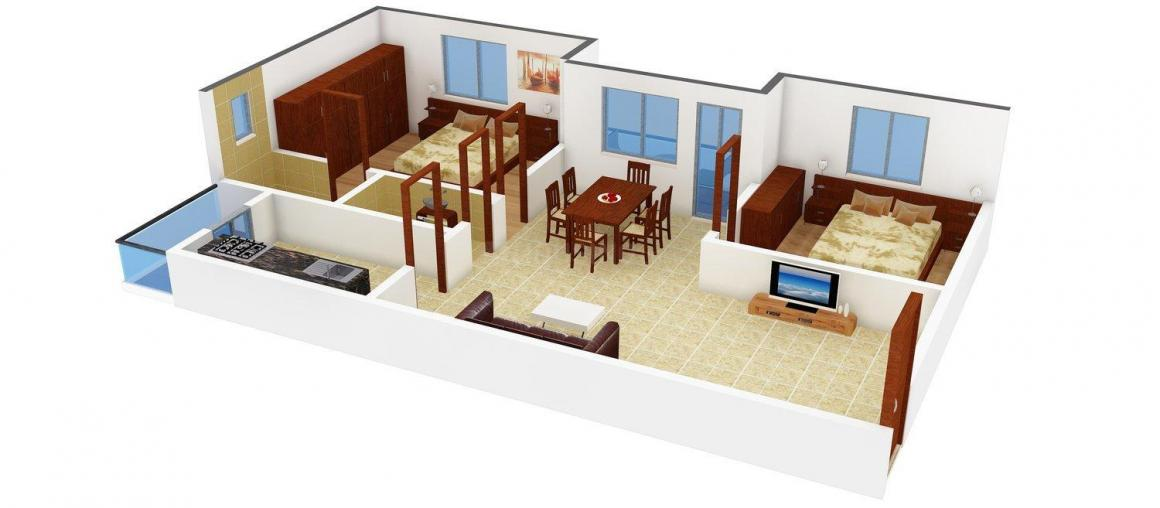 Floor Plan Image of 1040.0 - 1115.0 Sq.ft 2 BHK Apartment for buy in Sai Suphala Arcade