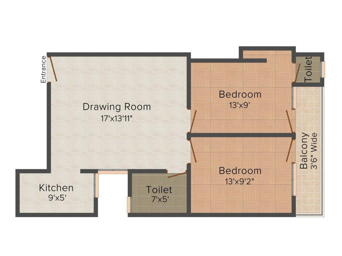 Floor Plan Image of 0 - 833 Sq.ft 2 BHK Independent Floor for buy in Balaji Phase 1