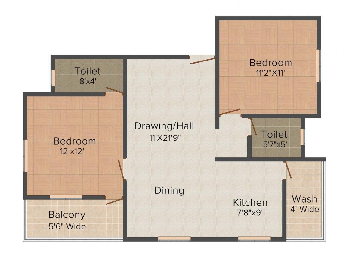 Floor Plan Image of 0 - 1100.0 Sq.ft 2 BHK Apartment for buy in Yogiraj Tower