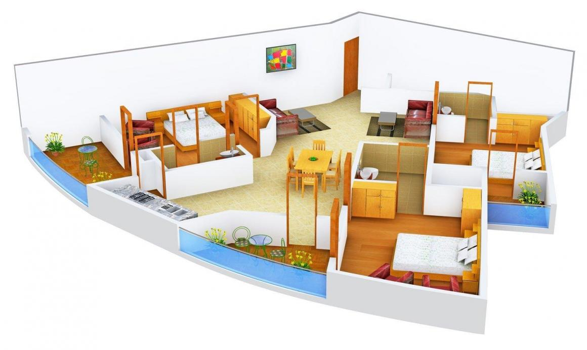 Floor Plan Image of 2215 - 4270 Sq.ft 3 BHK Apartment for buy in Supertech ORB