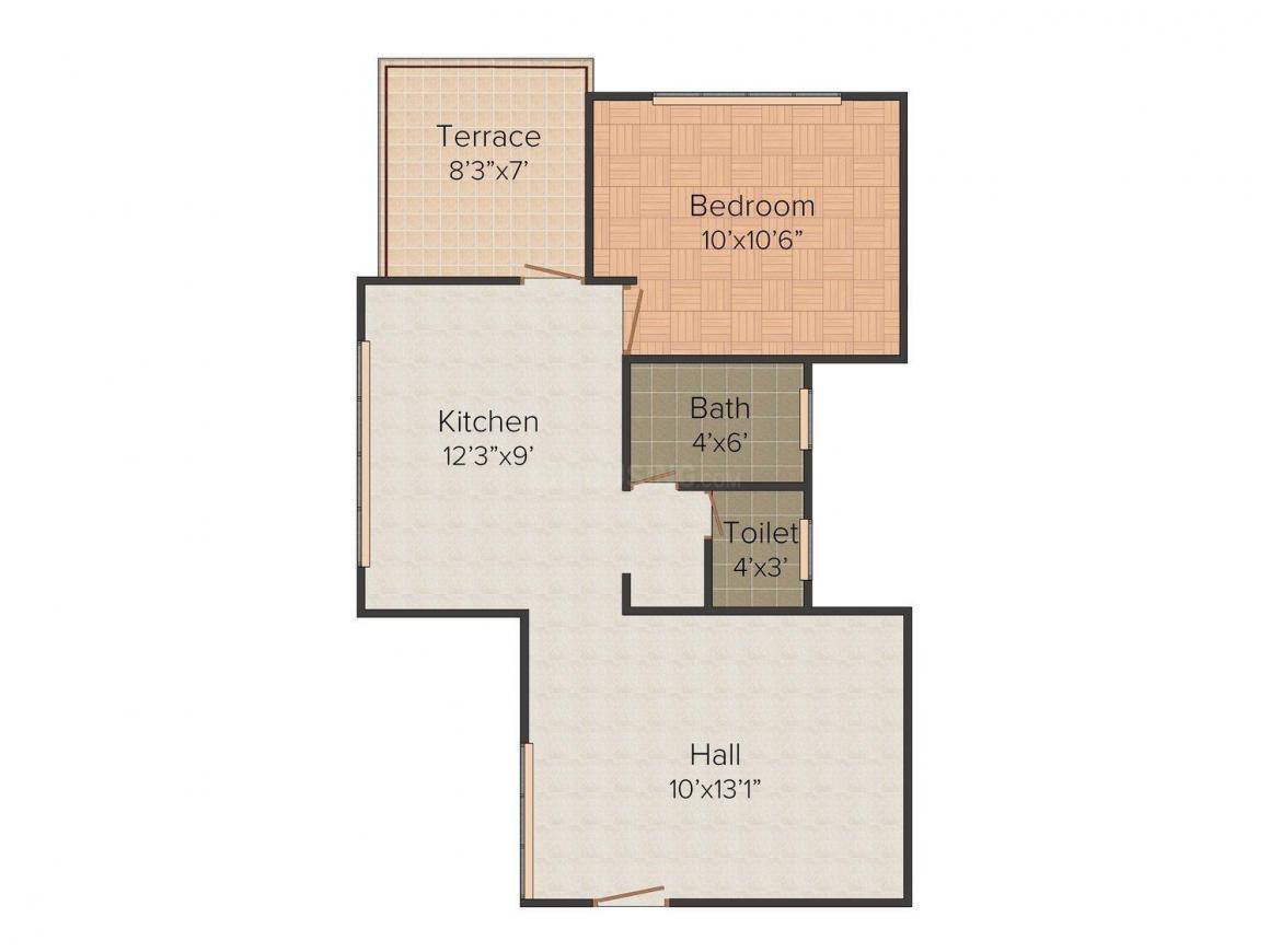 Venkateshwara Kaustubh Floor Plan: 1 BHK Unit with Built up area of 587 sq.ft 1