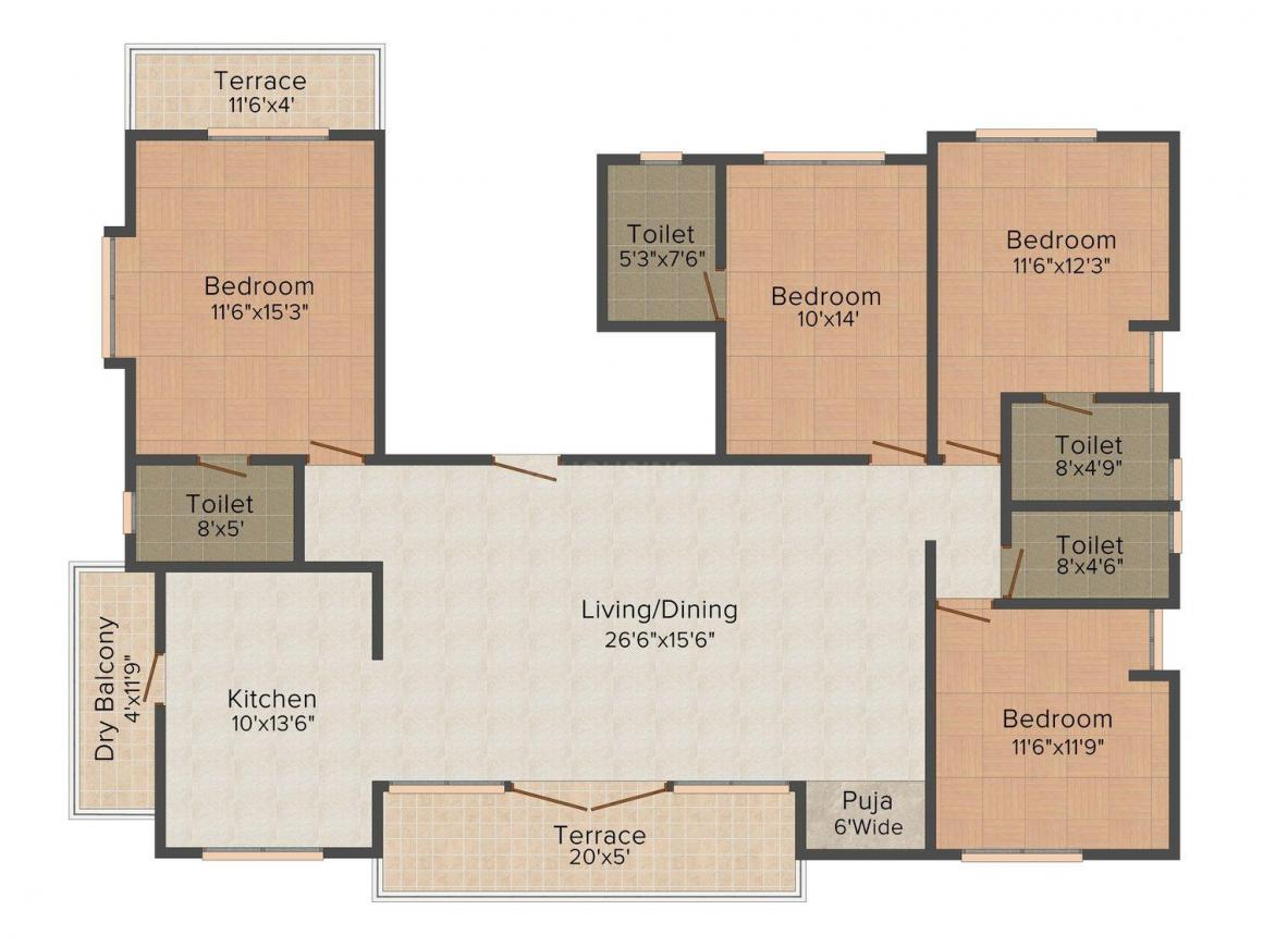 Bagad Four Spring's Floor Plan: 4 BHK Unit with Built up area of 1517 sq.ft 1