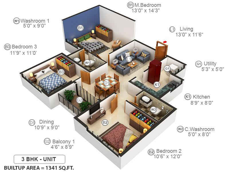 Corniche Floor Plan: 3 BHK Unit with Built up area of 1341 sq.ft 1