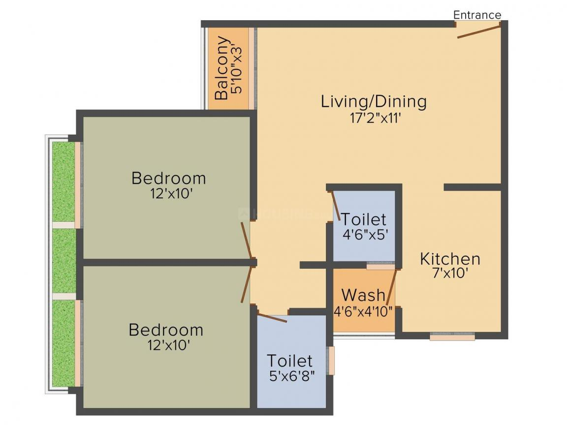 Shree Balaji Skyrise Floor Plan: 2 BHK Unit with Built up area of 1178 sq.ft 1