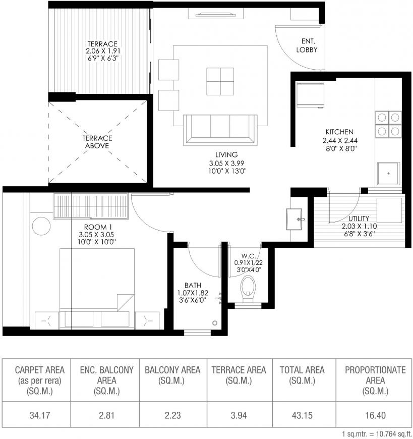 Gagan Tisha Floor Plan: 1 BHK Unit with Built up area of 368 sq.ft 1
