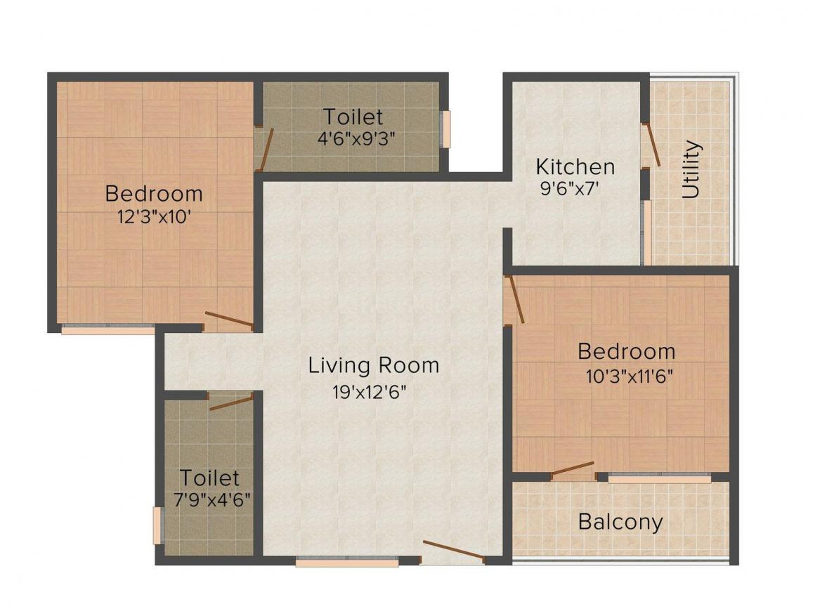Floor Plan Image of 824.0 - 1332.0 Sq.ft 2 BHK Apartment for buy in Neeladri Princess