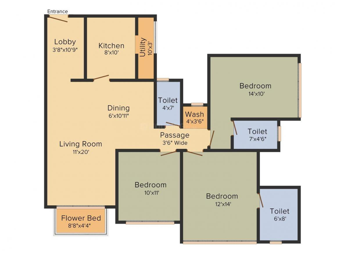 Floor Plan Image of 824 - 1285 Sq.ft 2 BHK Apartment for buy in Nirmal One Edition