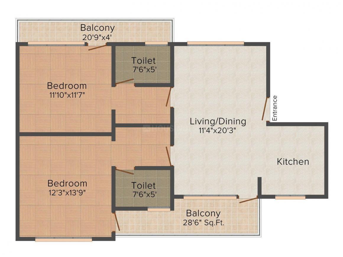Floor Plan Image of 1493 - 1543 Sq.ft 2 BHK Apartment for buy in Sanawar Residency