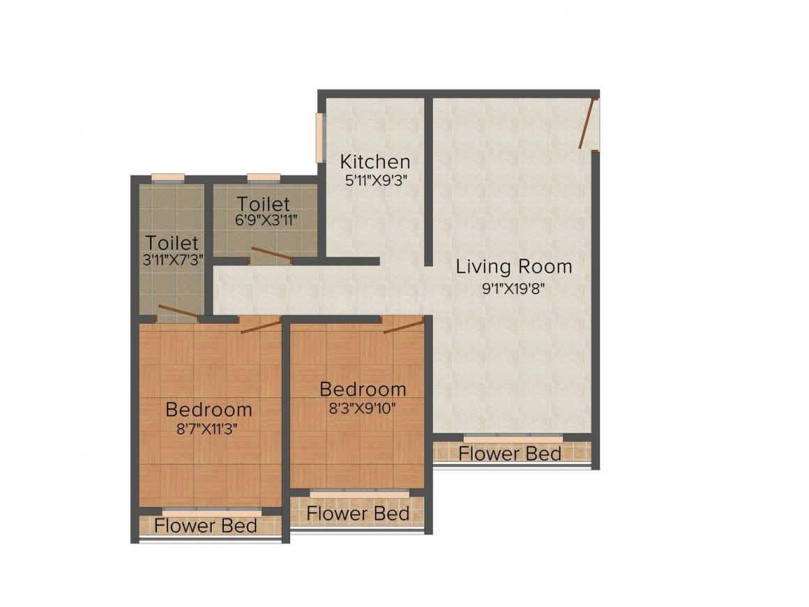 Floor Plan Image of 475.0 - 762.0 Sq.ft 1 BHK Apartment for buy in Poddar Samruddhi Hill View