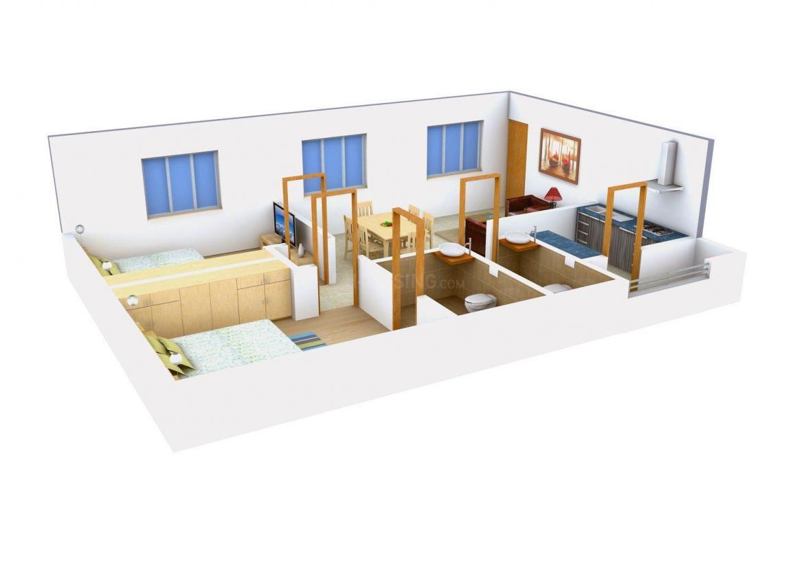 SV's Splendour Floor Plan: 2 BHK Unit with Built up area of 975 sq.ft 1