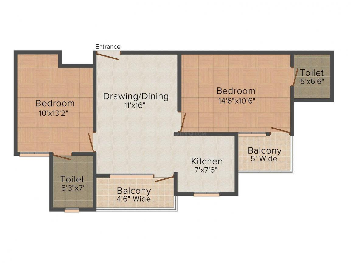 Floor Plan Image of 0 - 1130 Sq.ft 2 BHK Apartment for buy in Techno Culture Ganga