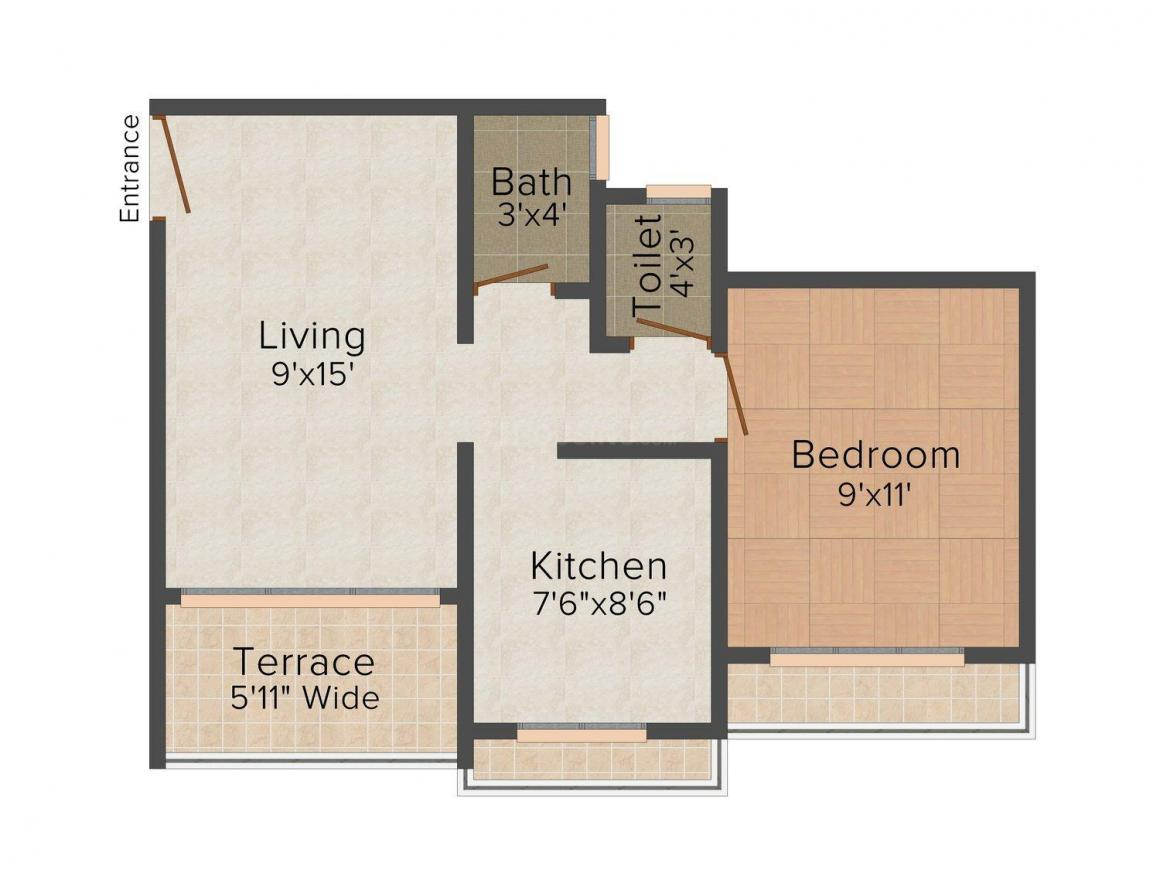 Floor Plan Image of 0 - 600.0 Sq.ft 1 BHK Apartment for buy in Shree Vallabh Sumaria Residency