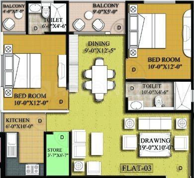 Mundeshwari Terrace Gardenia Floor Plan: 2 BHK Unit with Built up area of 1100 sq.ft 1