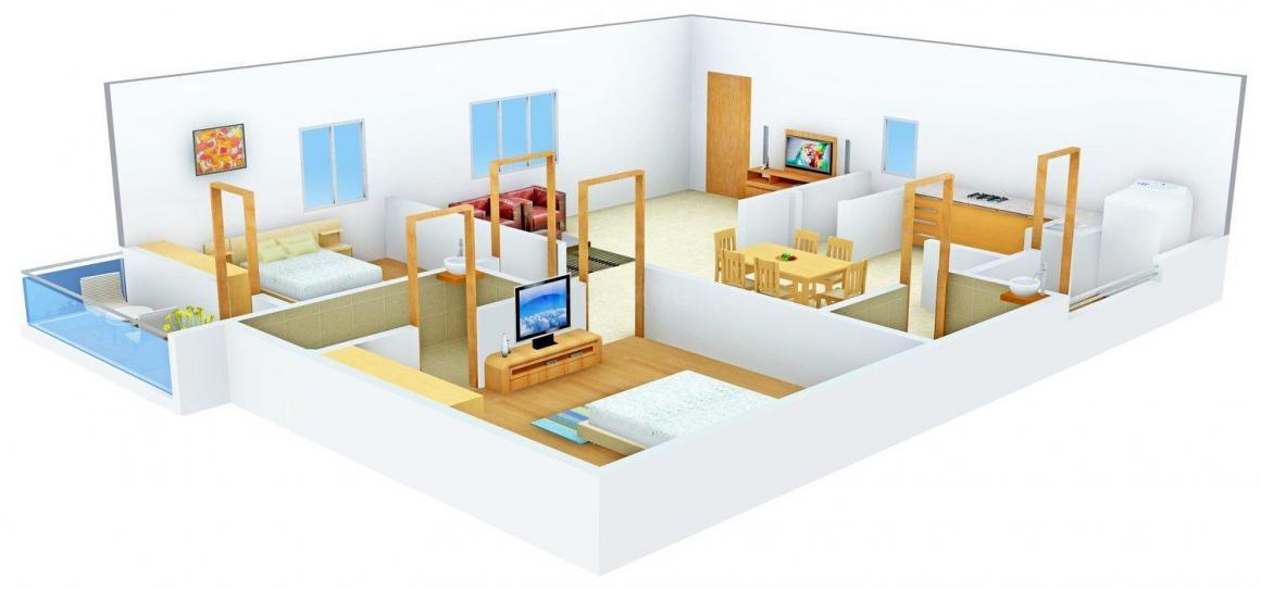 Floor Plan Image of 1263.0 - 1577.0 Sq.ft 2 BHK Apartment for buy in Elegant Flemingo