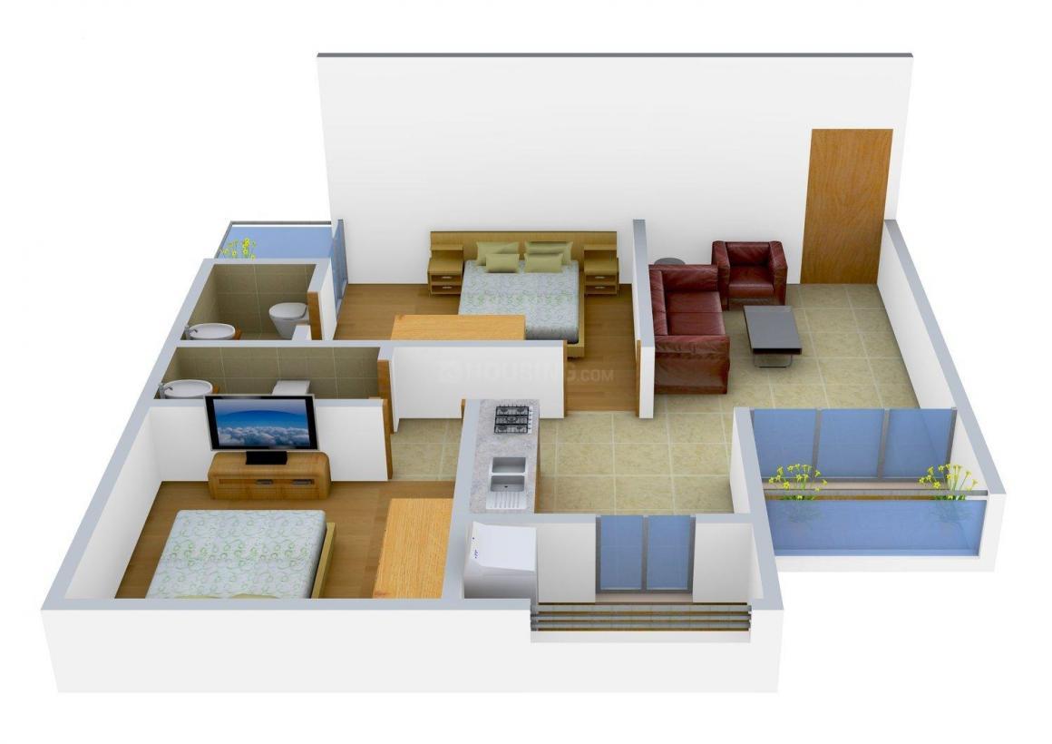Ashraya Ashraya 9 Floor Plan: 2 BHK Unit with Built up area of 990 sq.ft 1