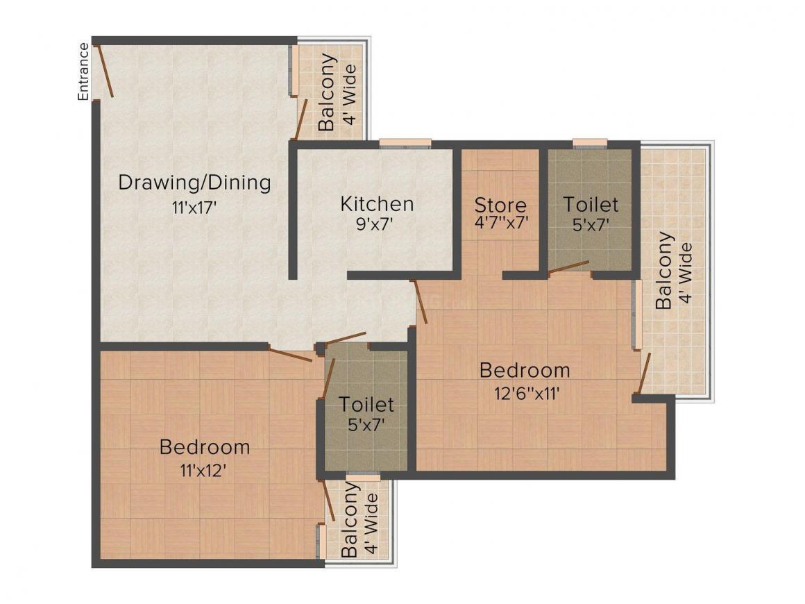Neesu Doon Heights Floor Plan: 2 BHK Unit with Built up area of 1030 sq.ft 1