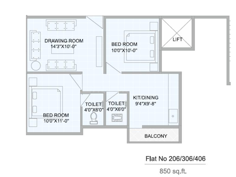 Nakshatra Shiwani Regency Floor Plan: 2 BHK Unit with Built up area of 850 sq.ft 1