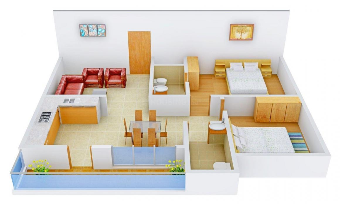 Floor Plan Image of 0 - 1025.0 Sq.ft 2 BHK Apartment for buy in 99 Zameen Sunshine