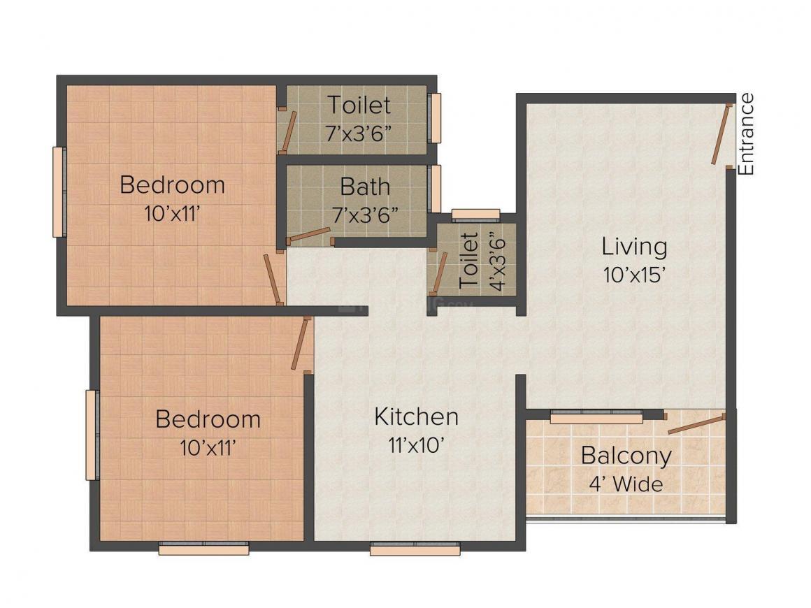 Floor Plan Image of 0 - 870 Sq.ft 2 BHK Apartment for buy in Daksh Sai Galaxy