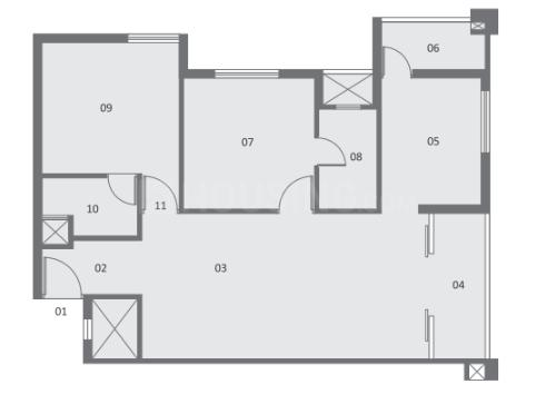 Pacifica Pride Towers Floor Plan: 2 BHK Unit with Built up area of 1147 sq.ft 1