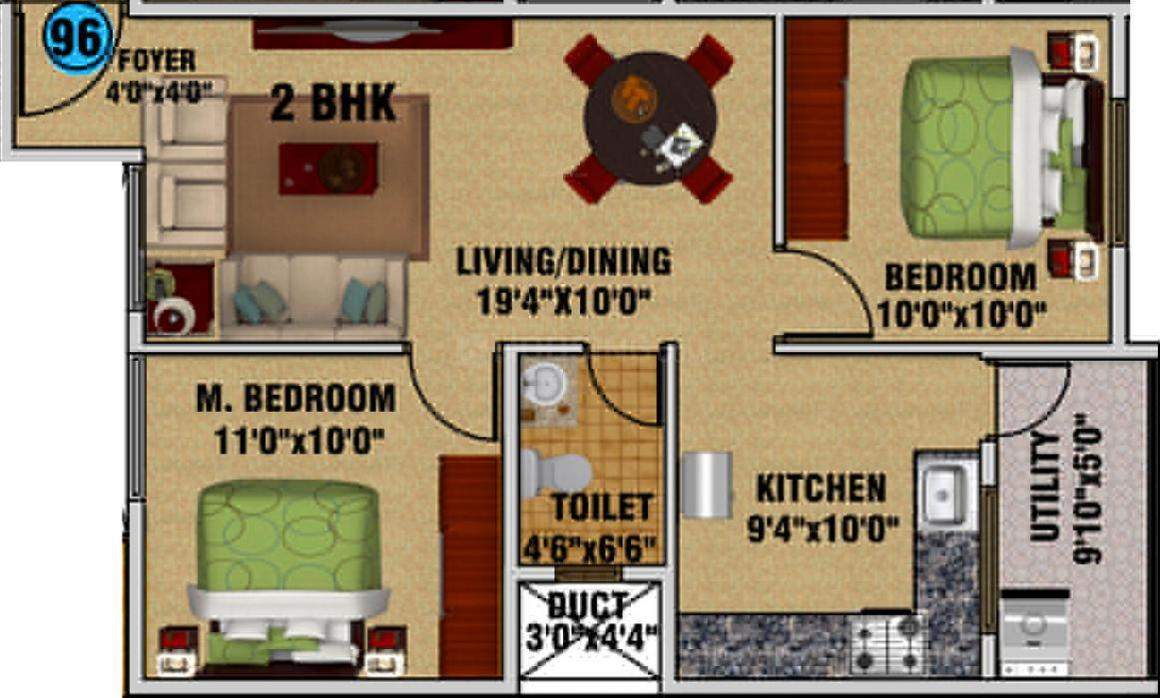 Floor Plan Image of 995.0 - 1639.0 Sq.ft 2 BHK Apartment for buy in DSMAX SAROVAR
