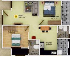 DS Max Sonata Nest Floor Plan: 2 BHK Unit with Built up area of 866 sq.ft 1