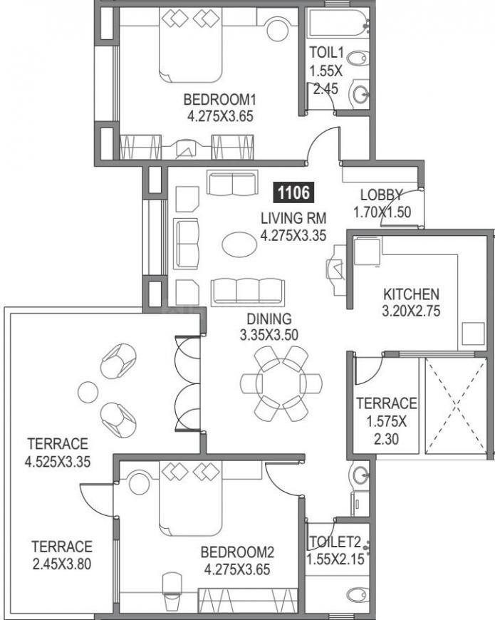 Paranjape Schemes Sairang Floor Plan: 2 BHK Unit with Built up area of 873 sq.ft 1