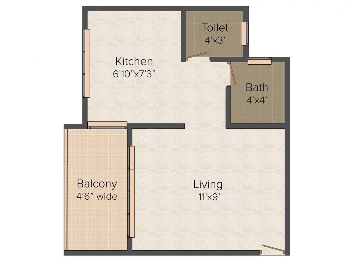Floor Plan Image of 340.0 - 704.0 Sq.ft 1 RK Apartment for buy in Aarambh Anmol Arcade