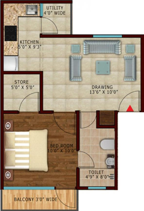 Renowned Group Lotus Villa Apartment Floor Plan: 1 BHK Unit with Built up area of 650 sq.ft 1