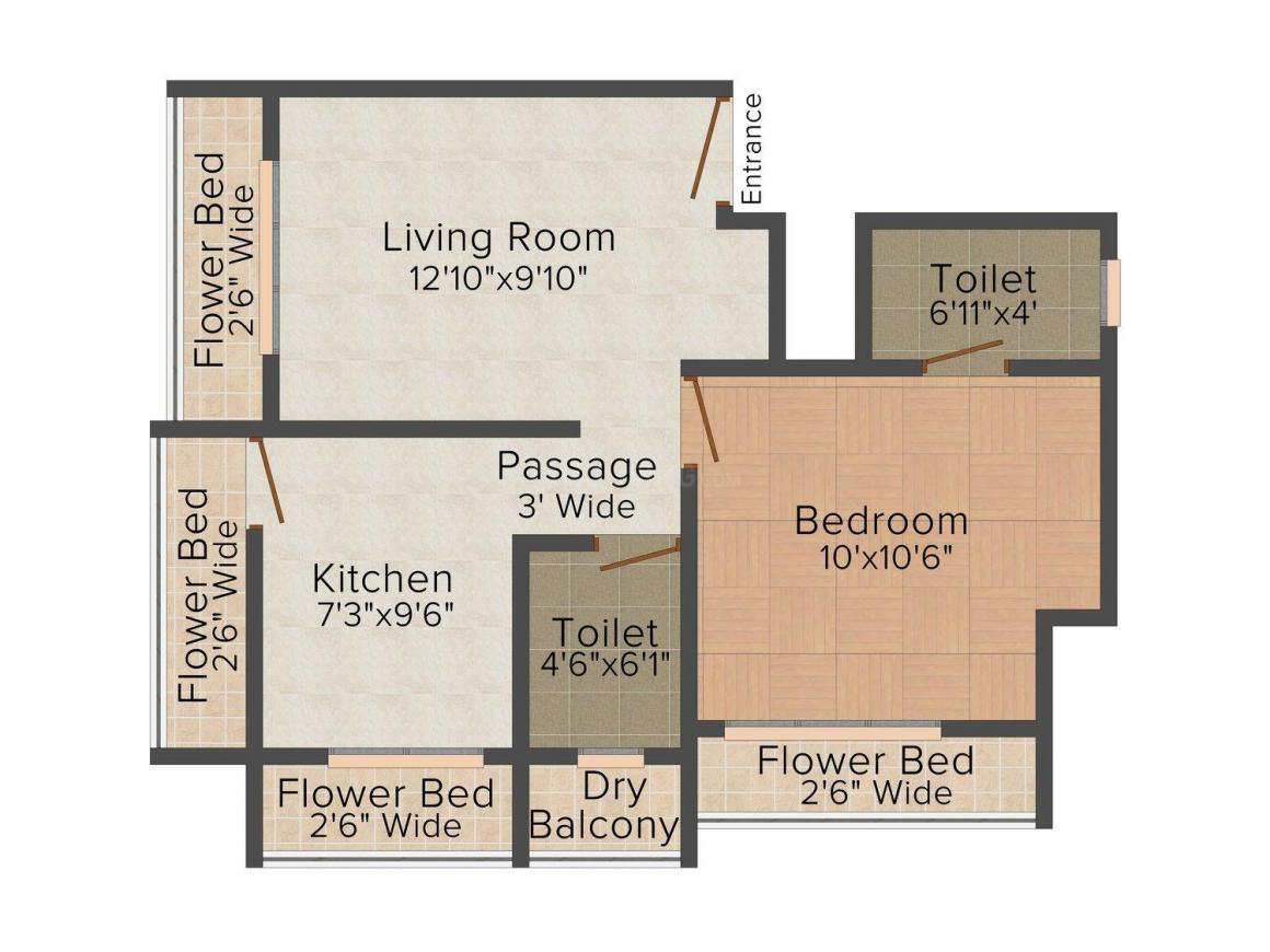 Floor Plan Image of 480 - 550 Sq.ft 1 BHK Apartment for buy in Kasam Govind Apartment