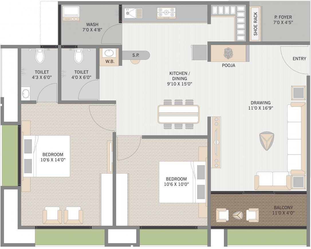 Nilkanth Bhaktikunj Heritage Floor Plan: 2 BHK Unit with Built up area of 706 sq.ft 1