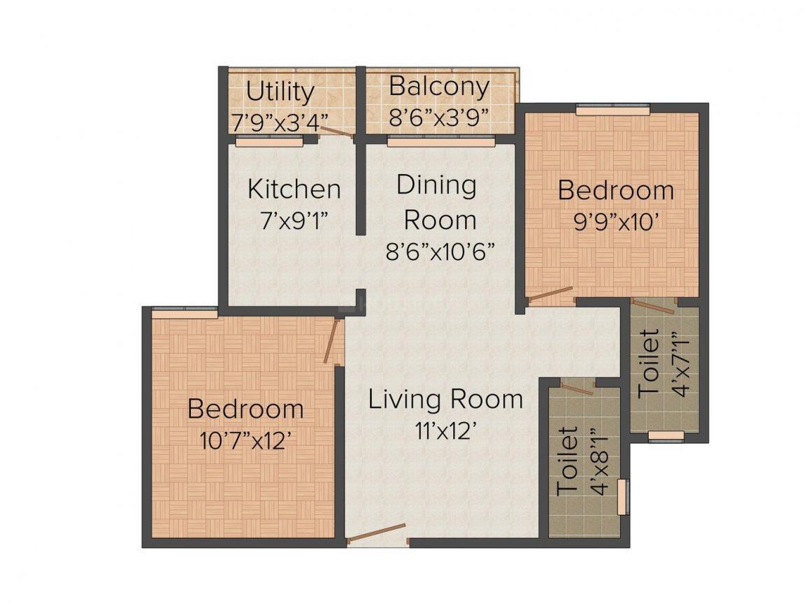 Floor Plan Image of 749.0 - 1020.0 Sq.ft 2 BHK Apartment for buy in Sri Balaji Galaxy