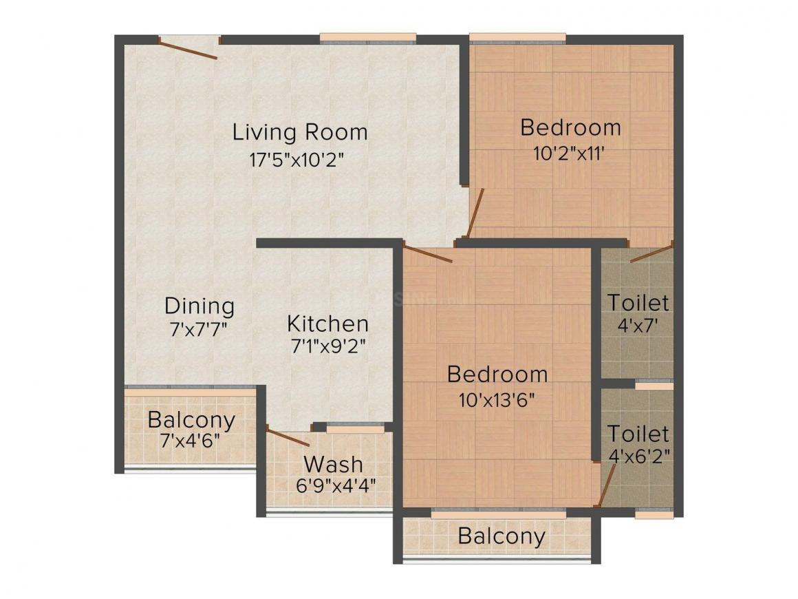 Floor Plan Image of 1107 - 1125 Sq.ft 2 BHK Apartment for buy in Avis Western Park