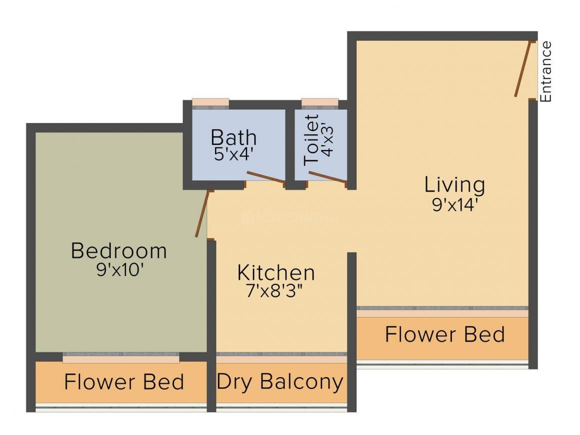 Floor Plan Image of 0 - 500.0 Sq.ft 1 BHK Apartment for buy in Falvista Pavitra Dham