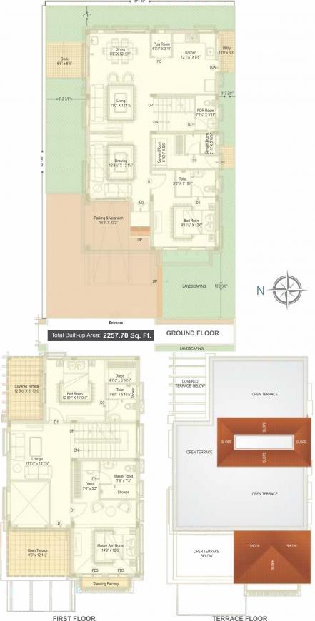 Ramky Gardenia Grove Villas Floor Plan: 3 BHK Unit with Built up area of 2258 sq.ft 1